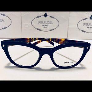 Prada Eyeglasses Navy Blue on Havana 21S New 51mm